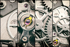 Collage with clockworks in vintage style Royalty Free Stock Photos