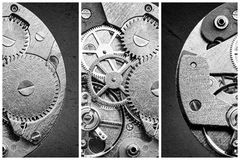 Collage with clockworks in vintage style Stock Photo