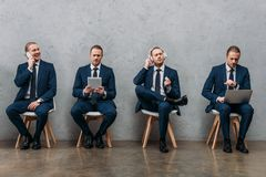 collage of cloned businessman sitting on chairs