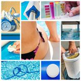 Collage close-up maintenance of a private pool Stock Image