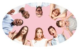 Collage of close up portraits of young people on pink background. stock photography
