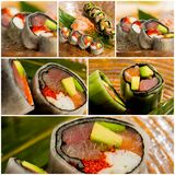 Collage close-up shot of traditional fresh japanese sushi rolls Royalty Free Stock Image