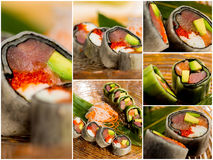 Collage close-up shot of traditional fresh japanese sushi rolls Stock Image
