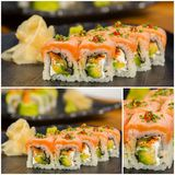 Collage close-up shot of traditional fresh japanese sushi rolls Stock Images