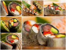 Collage close-up shot of traditional fresh japanese sushi rolls Stock Photos