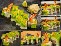 Collage close-up shot of traditional fresh japanese sushi rolls Royalty Free Stock Images