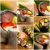 Collage close-up shot of traditional fresh japanese sushi rolls Stock Photography