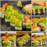 Collage close-up shot of traditional fresh japanese sushi rolls Royalty Free Stock Photo