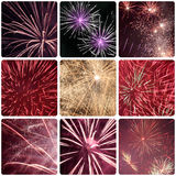 Fireworks. Collage with close ups of fireworks Stock Image