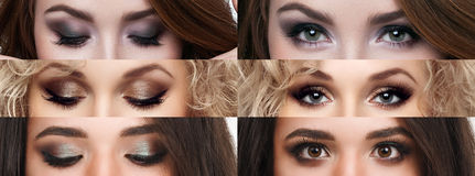 The collage closed and open eyes with different makeup. Bright makeup, cosmetics, mascara, eyeshadow. Beauty and fashion.  royalty free stock image