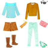 Collage ,clothes isolated female. Royalty Free Stock Photos