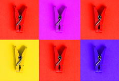 Collage with clothes-peg in pop art style royalty free stock image