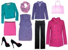 Collage,clothing isolated female.. Stock Photography
