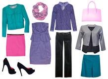Collage,clothing isolated female. Stock Photography