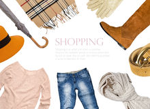 Collage of clothing in warm color. Scheme Stock Photo