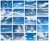 Collage of clouds in a blue sky Royalty Free Stock Photography