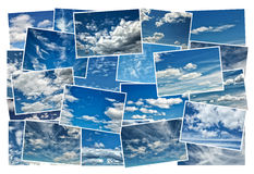 Collage of clouds in a blue sky Royalty Free Stock Photo