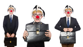 The collage of clown businessman isolated on white Stock Photography