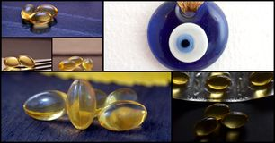 Collage of Cod liver oil omega 3 gel capsules and evil eye amulet Stock Photography
