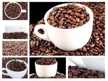 Collage of coffee and beans Stock Photos