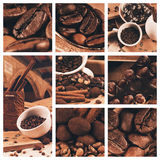 Collage of coffee beans and chocolate Stock Images