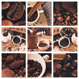 Collage of coffee beans and chocolate truffles in cup Royalty Free Stock Photos