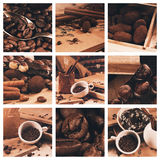 Collage of coffee beans in cup Stock Photo