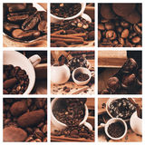 Collage of coffee beans and truffles in cup Royalty Free Stock Image