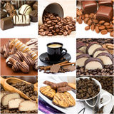 Collage with coffee, chocolate and cookies Royalty Free Stock Photography