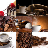 Collage with coffee. In cup, coffee beans, chocolate slice, candy, spices, cake with raspberry Royalty Free Stock Image