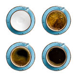 Collage of coffee cups with different contents isolated on white Royalty Free Stock Photo