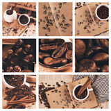 Collage of coffee with drawing of coffee beans Stock Image