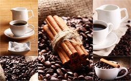 Collage with coffee grains, cinnamon and cups Royalty Free Stock Images