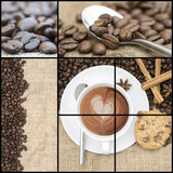 Collage of coffee images. Collage of various coffee images Royalty Free Stock Photography