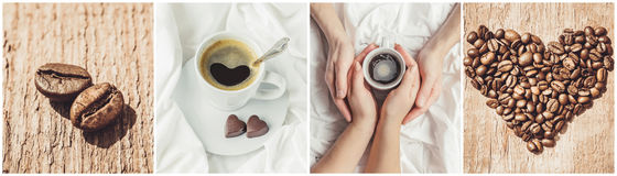 Collage of coffee. a lot of pictures. Stock Photography