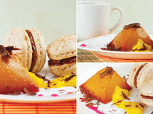 Collage with coffee, macaroons and caramel pudding Royalty Free Stock Photo
