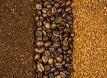 Collage of coffee, milled, instant and beans Royalty Free Stock Images