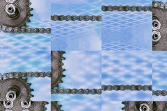 Collage of cogwheels and chain as technology background. Royalty Free Stock Photos
