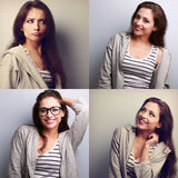 Collage (collecion) of beautiful young woman with different emot Royalty Free Stock Image