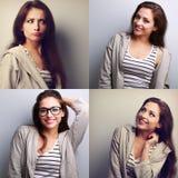 Collage (collecion) de la mujer joven hermosa con diverso emot imagen de archivo libre de regalías