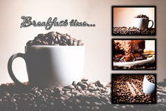 Collage (collection) background of different coffee motives royalty free stock photo