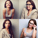 Collage (collection) of beautiful young woman with different fac. E emotions looking happy stock photo