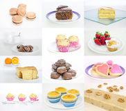 Collage or collection of delicious and tasty desserts. Sweet cakes collection isolated on white background stock photography