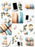 Collage collection of photos with coffee, blue and orange pastel colored macaroons Stock Photos