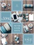 Collage collection of photos with coffee and blue pastel colored macaroons Stock Photography