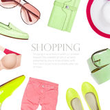 Collage collection of summer clothes Stock Photos