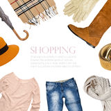 Collage collection of warm clothes u Royalty Free Stock Photography