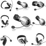 Collage (collections). Headsets with a microphone. Isolated royalty free stock photography