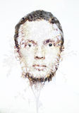 Collage écologique conceptuel, visage d'homme et petit modèle d'arbre Photo libre de droits