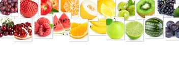 Collage of color fruits stock images